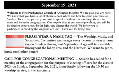 Church Life, September 19, 2021